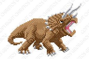 Dinosaur Triceratops Pixel Art
