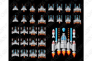 Space Ship Pixel Art Video Arcade