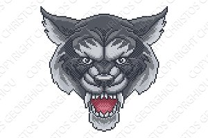 Wolf Pixel Art Arcade Game Cartoon