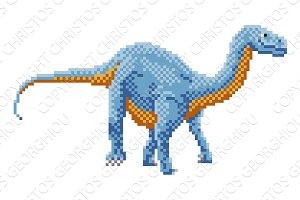 Dinosaur Diplodocus Pixel Art Arcade