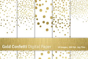 Gold Confetti Digital Papers-Png+Jpg