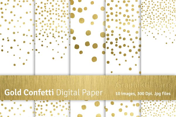 Gold Confetti Digital Papers-Png+Jp…