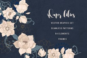 Water lilly and fish graphic set