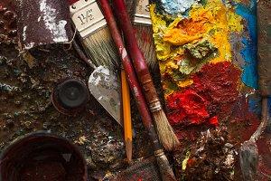 art paints, palette, brushes pencil