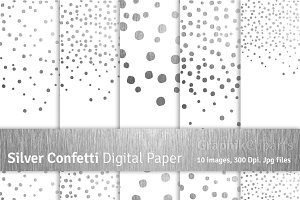 Silver Confetti Digital Papers