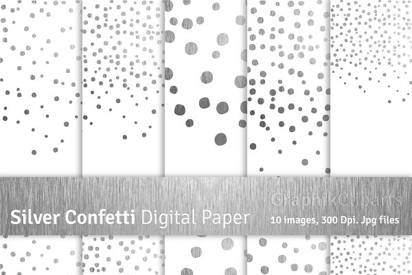 Silver Confetti Digital Papers