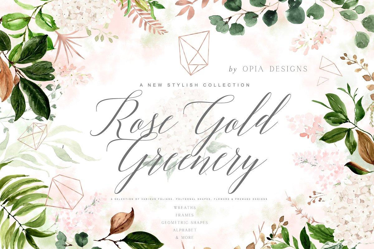 Rose Gold & Greenery Geometric Set