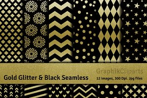Gold Glitter & Black Digital Papers