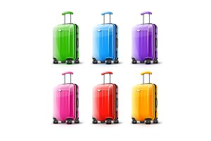 Suitcases for travel. Vector.