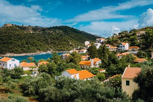 View of beautiful Assos village