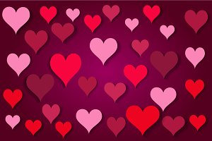Pink hearts background wih shadows,