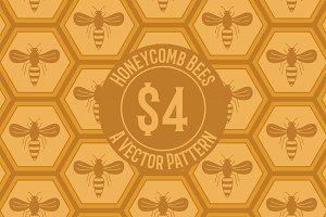 Honeycomb Bees Seamless Pattern