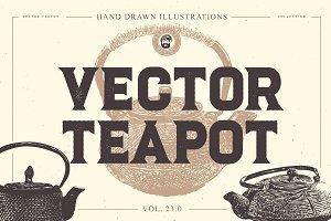 VECTOR TEAPOTS HAND DRAWN BUNDLE 23