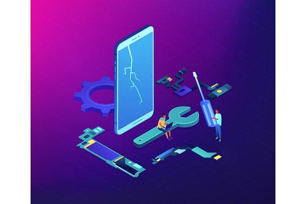 Smartphone repair concept vector