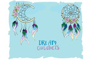 Colorful hand drawn dreamcatchers