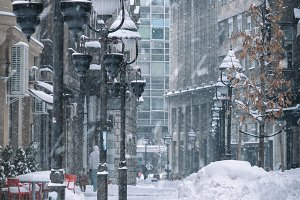 snow in the city streets