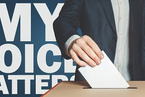 My voice matters concept Male voter