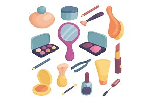 Cosmetics icons set, cartoon style