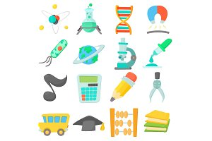 Science education icons set, cartoon