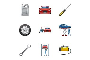 Car repairs icons set, cartoon style