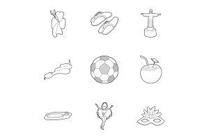 Country Brazil icons set, outline