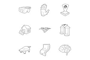 Innovation icons set, outline style