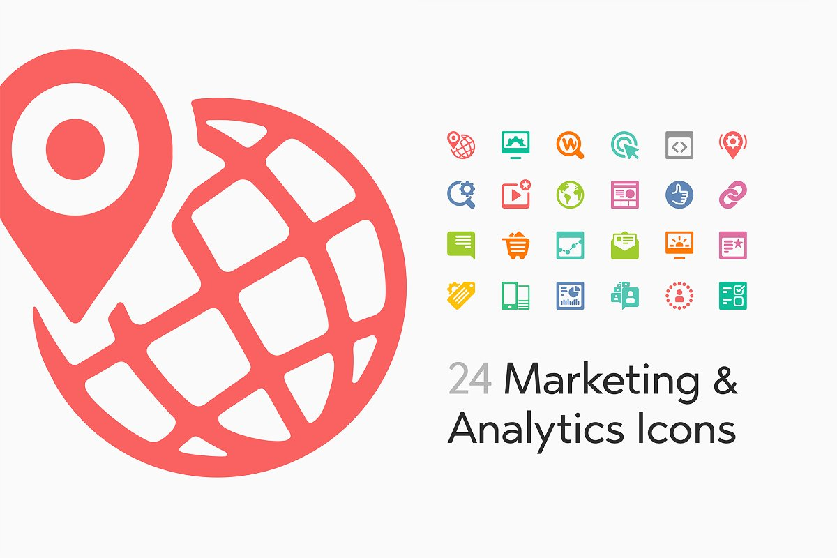24 Marketing and Analytics Icons