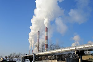 Thermal power plant, chimney smoke