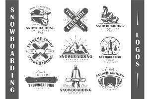 9 Snowboarding Logos Templates Vol.1