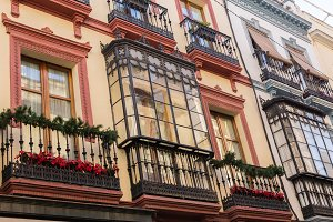 Traditional facades of houses with