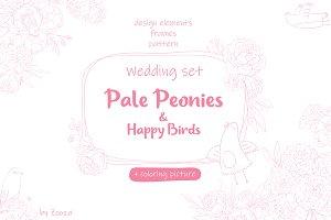Wedding set: Peonies & Happy Birds