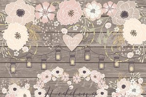 Vector Rustic wedding clipart