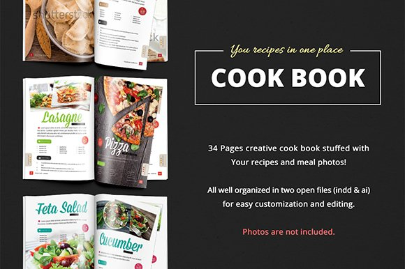 cook book recipes vol 1 magazine templates creative market