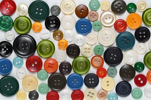 Old colorful sewing buttons