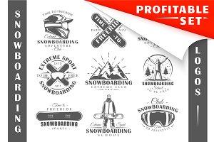 18 Snowboarding Logos Templates