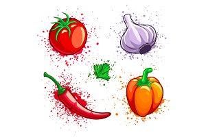 Set of fresh vegetables cherry.