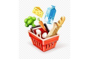 Shopping basket with organic food.