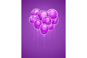Heart made of purple air balloons.