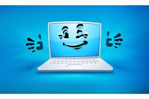 Cartoon laptop icon with smiley.