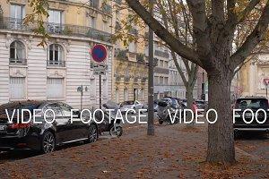 View to Paris street in autumn