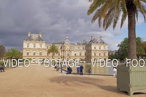 Visitors in Luxembourg Gardens. View