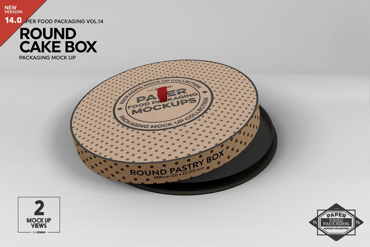 Paper Round CakeBox Packaging Mockup