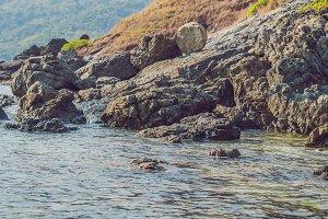 The tropical sea, rocks and blue