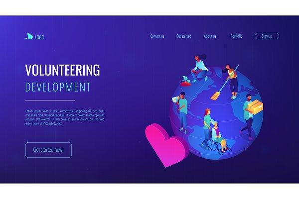 Volunteering isometric 3D landing