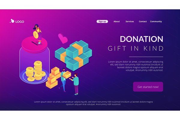 Donation isometric 3D landing page.