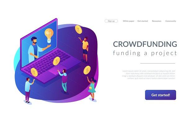 Crowdfunding isometric 3D landing