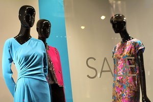 Sale with Mannequins in Window