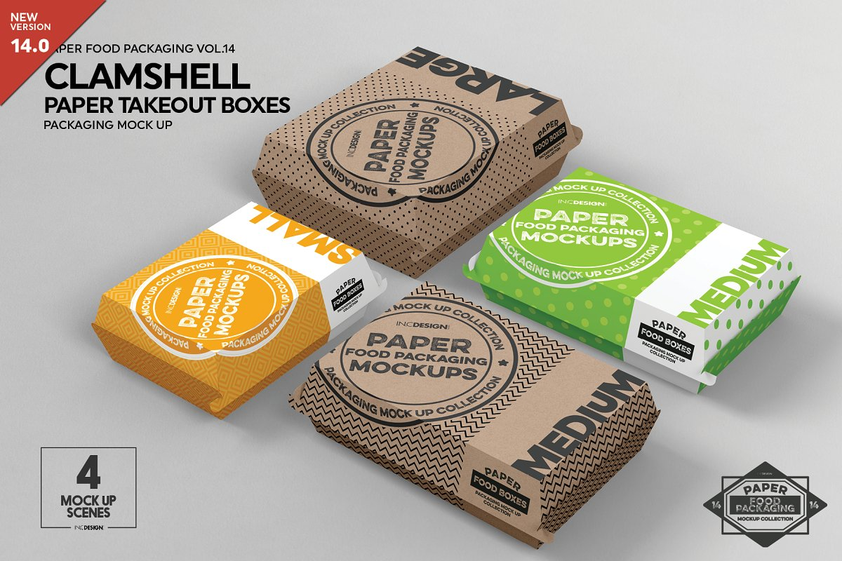 Paper Clamshell Takeout Boxes Mockup