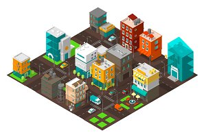 City town district street Isometric