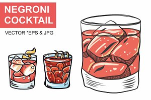 Negroni cocktail vector